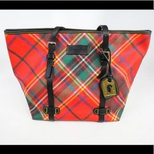 Dooney and Bourke Red/Green Tartan Plaid Tote
